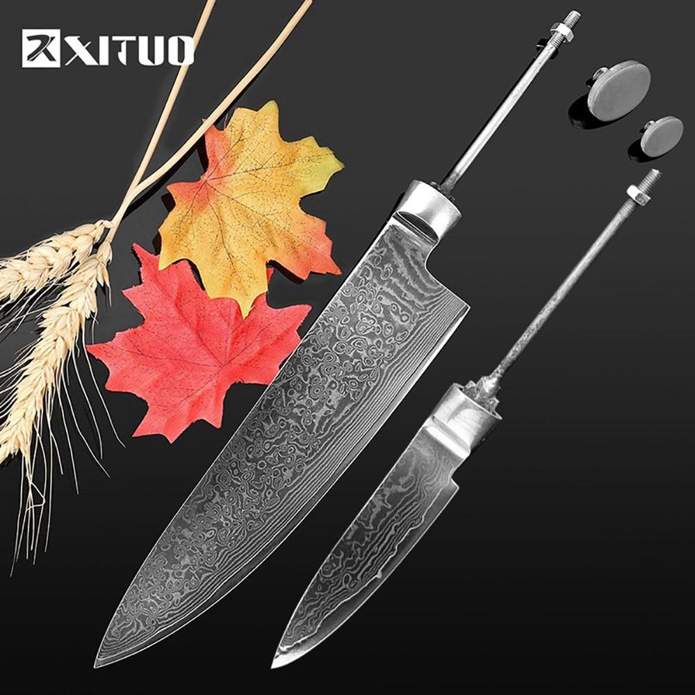 XITUO afilada DIY cuchillo de chef en blanco vg10 Damasco hoja de acero material semi-terminado palanquilla cuchillo japonés cocina cocinar a ol