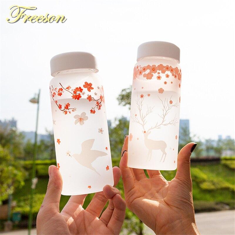 Сакура Ласточка Мороз стеклянная бутылка для воды с рукавом 430 мл бутылки лося креативные Кемпинг спорт бутылка Тур посуда для напитков дро...
