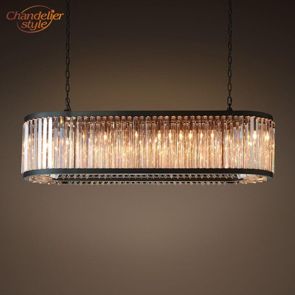 Lámpara de araña Rectangular de Cristal claro Welles, lámpara de araña de...