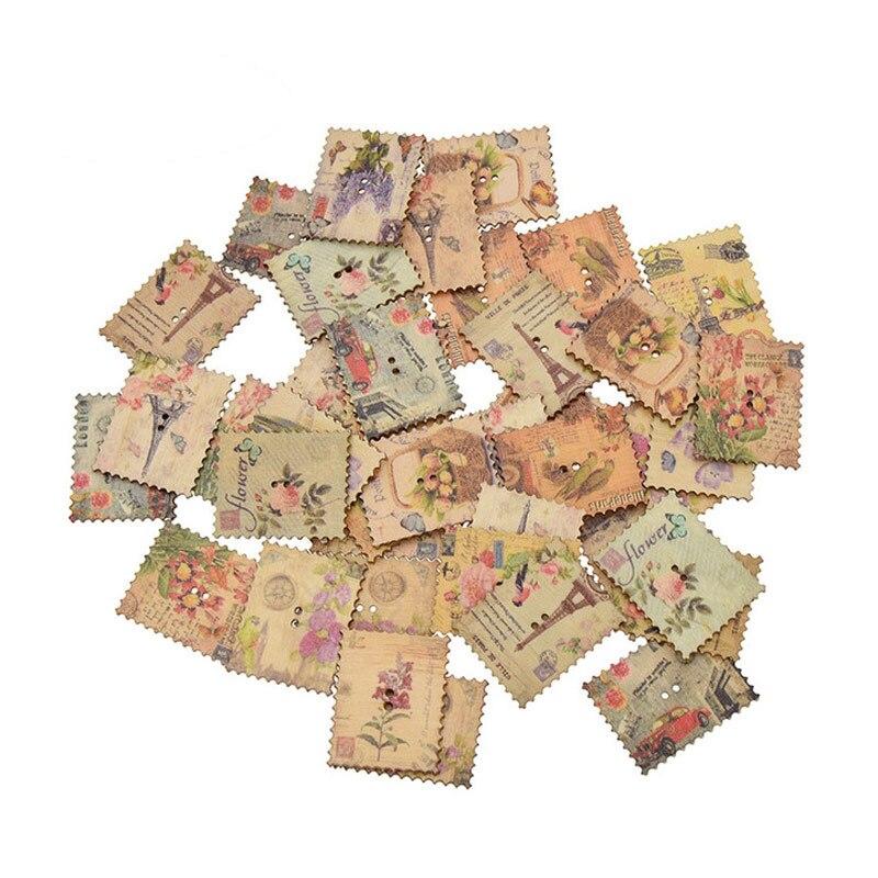 50 Uds. Botones de madera estampados mixtos para ropa Scrapbooking artesanía botón decorativo costura con aguja DIY Accesorios