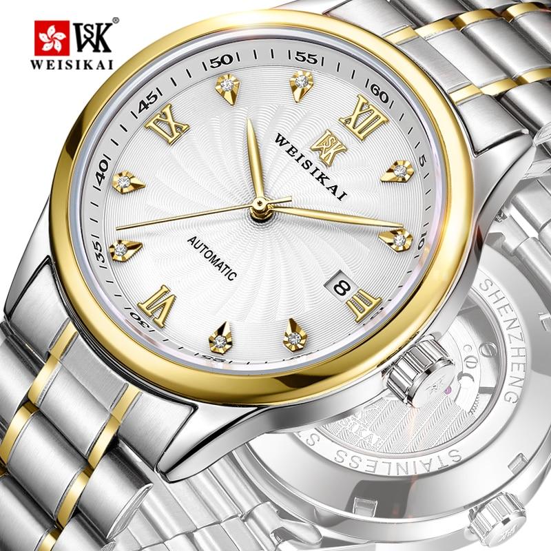 WEISIKAI Automatic Self-wind Watch Men Wrist Automatic Retro Watches Men Waterproof Luxury Diamond Watch man Clock Montre Homme