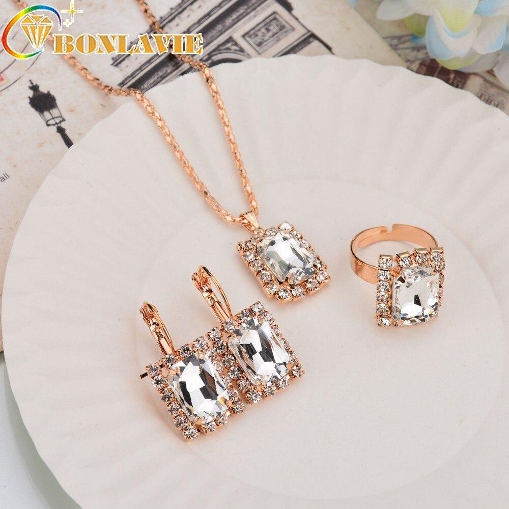 Новый модный, элегантный, Кристальный кулон ожерелье серьги кольца костюм геометрический квадратный ювелирный набор женский свадебный банкет аксессуары