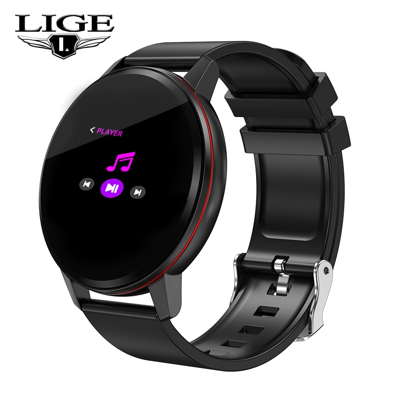 2019 New LIGE Full Touch Screen Smart Bracelet Heart Rate Monitor fitness tracker Smart Wristband Pedometer Smartwatch Men Women