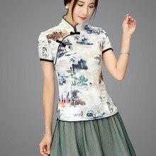 Shanghai histoire mélange lin chinois traditionnel haut Qipao chemise pour femme Cheongsam Style chemise chinois Blouse pour dames