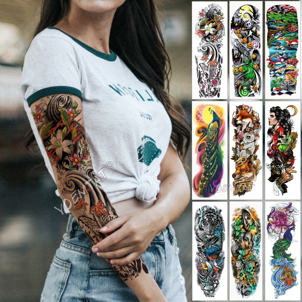 Manga de tatuaje para brazo grande ola japonesa impermeable tatuaje temporal pegatina Lily Pavo Real hombres completo Tigre zorro tatuaje para arte corporal mujeres