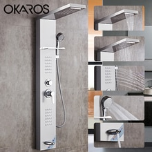 OKAROS panneau de douche brossé en Nickel   Cascade, robinets de douche en pluie, Nickel avec douchette à main, salle de bains, bec de baignoire, tour de douche