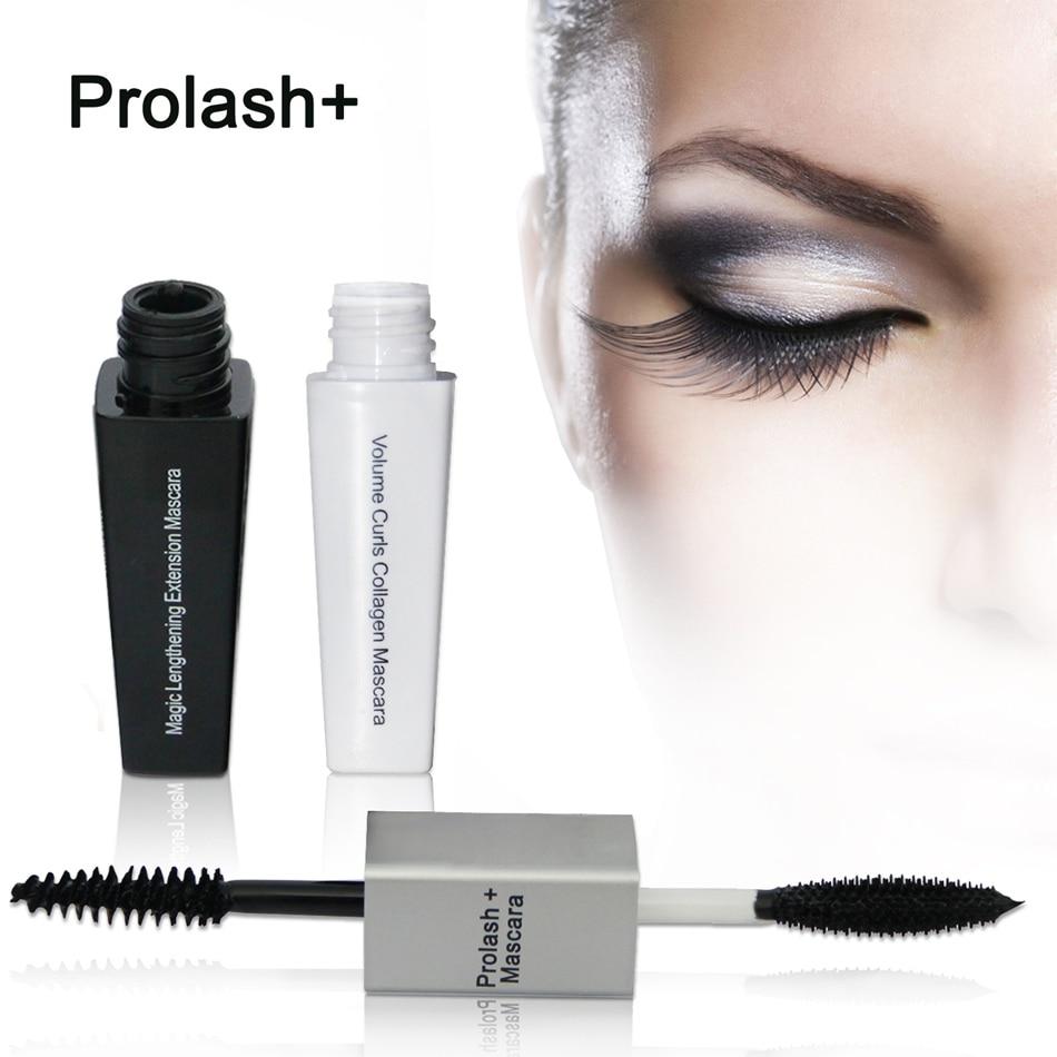 6 uds Prolash + extensión de alargamiento mágico doble volumen rimel negro a prueba de agua rizado y truco colágeno maquillaje de ojos bio-epm