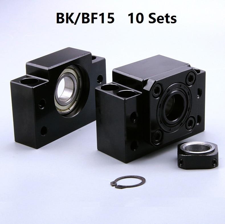 10 قطعة BK15 الثابتة الجانب و 10 قطعة BF15 طرحت الجانبية ل الكرة المسمار نهاية دعم cnc جزء 10 مجموعات BK/BF15