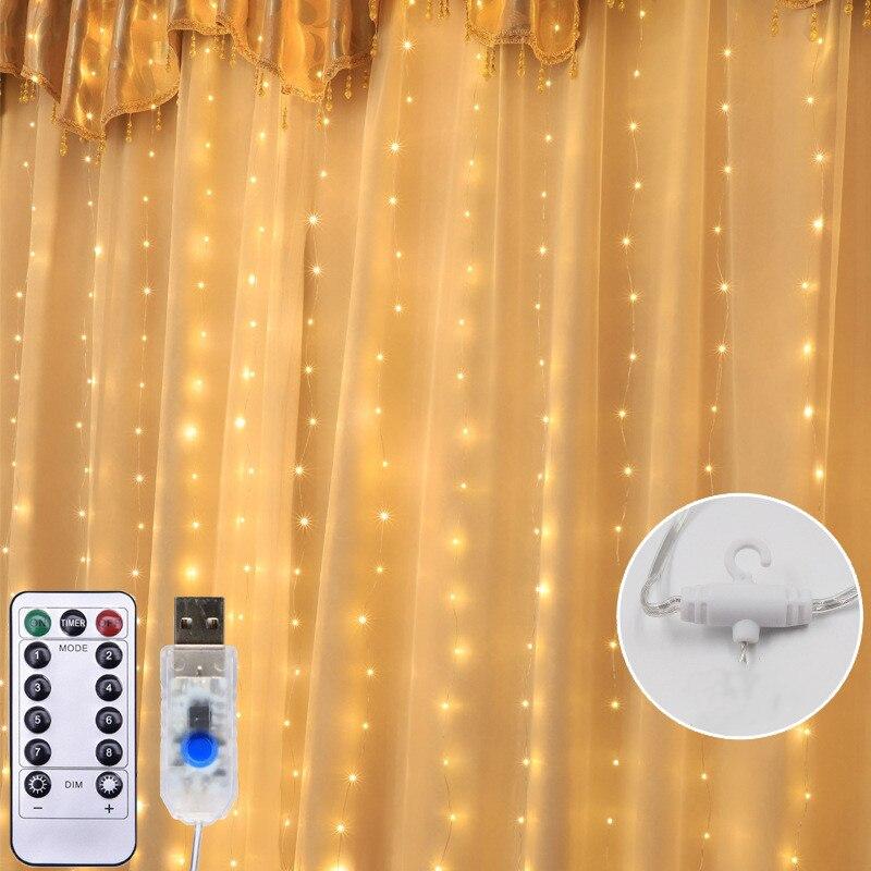 3x3m 300 LED fil de cuivre glaçon rideau lumières USB avec télécommande fée lumières chaîne guirlande pour mariage fête rideau décor