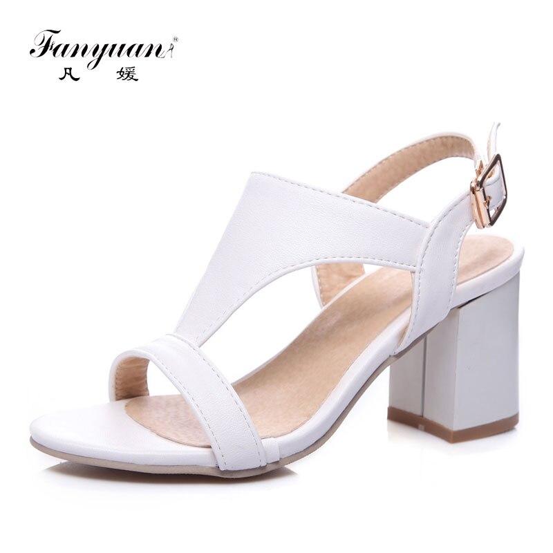 Fanyuan High Heels Sandals Women Summer Party Dress Shoes Woman sandalias White Black Elegant Square Heel Ladies Sandals 7CM