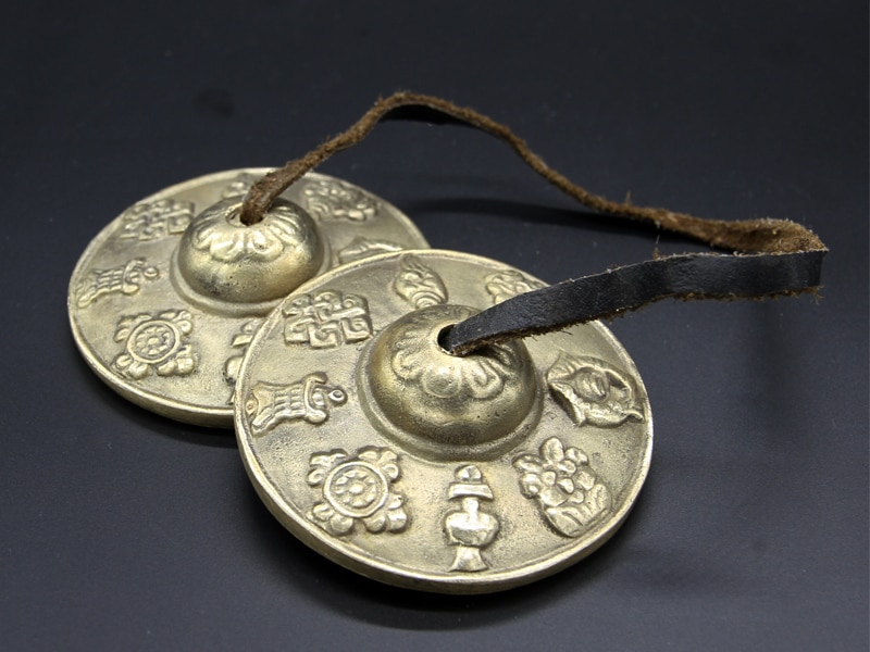 Tibet encanto palabra Tingsha Bells tibetana manjira platillos 6.5 cm envío libre