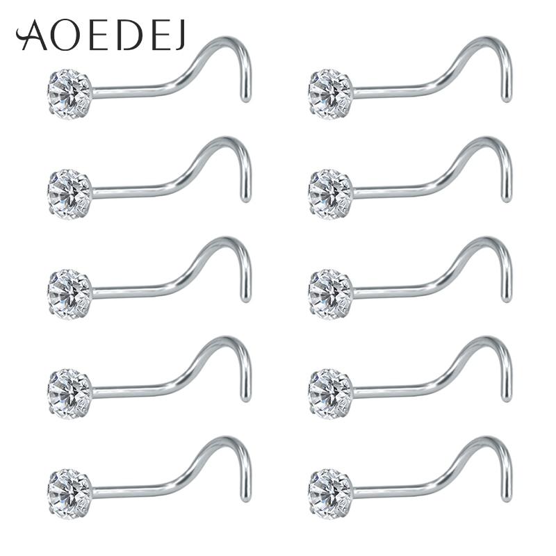 AOEDEJ, 10 Uds., 1 lote de pendientes y anillos para nariz de 20g, anillos redondos de cristal para la nariz, joyería para el cuerpo, Piercing en forma de L para la nariz, pasador de circonita cúbica