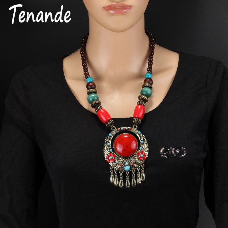 Tenande clásico étnico largo clásico collares con colgante de borla Bohemia piedras naturales collares llamativos flor para joyería de mujer