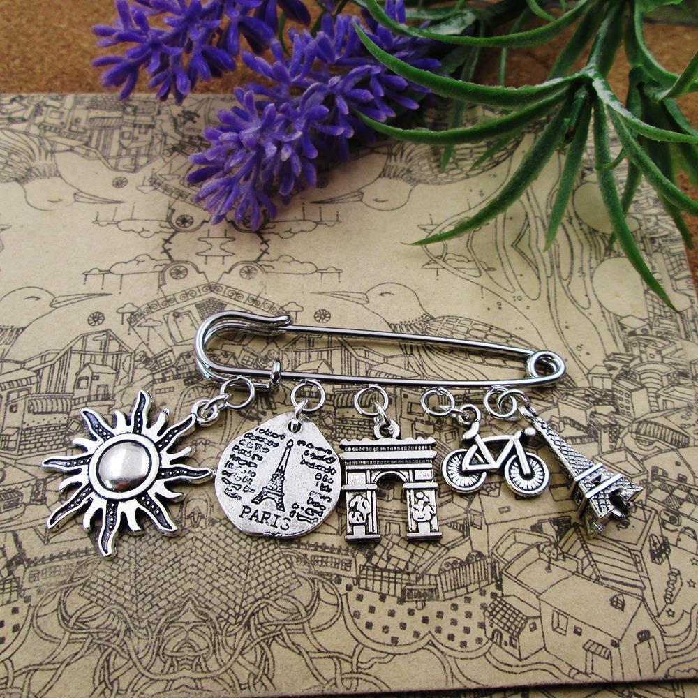 Paris frança pino broche prata torre eiffel croissant ard de triomphe & bike viajante charme broche
