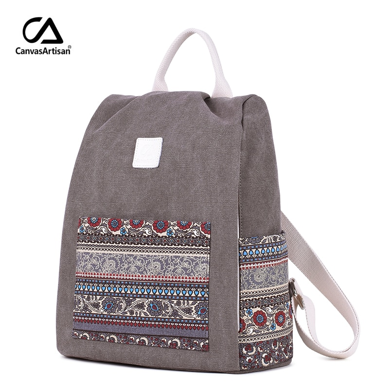 Canvasartisan-حقيبة ظهر قماشية نسائية ، نمط ريترو ، زهري ، حقيبة كتب مدرسية ، سفر ، حقائب ظهر صغيرة ، حقائب نهارية غير رسمية