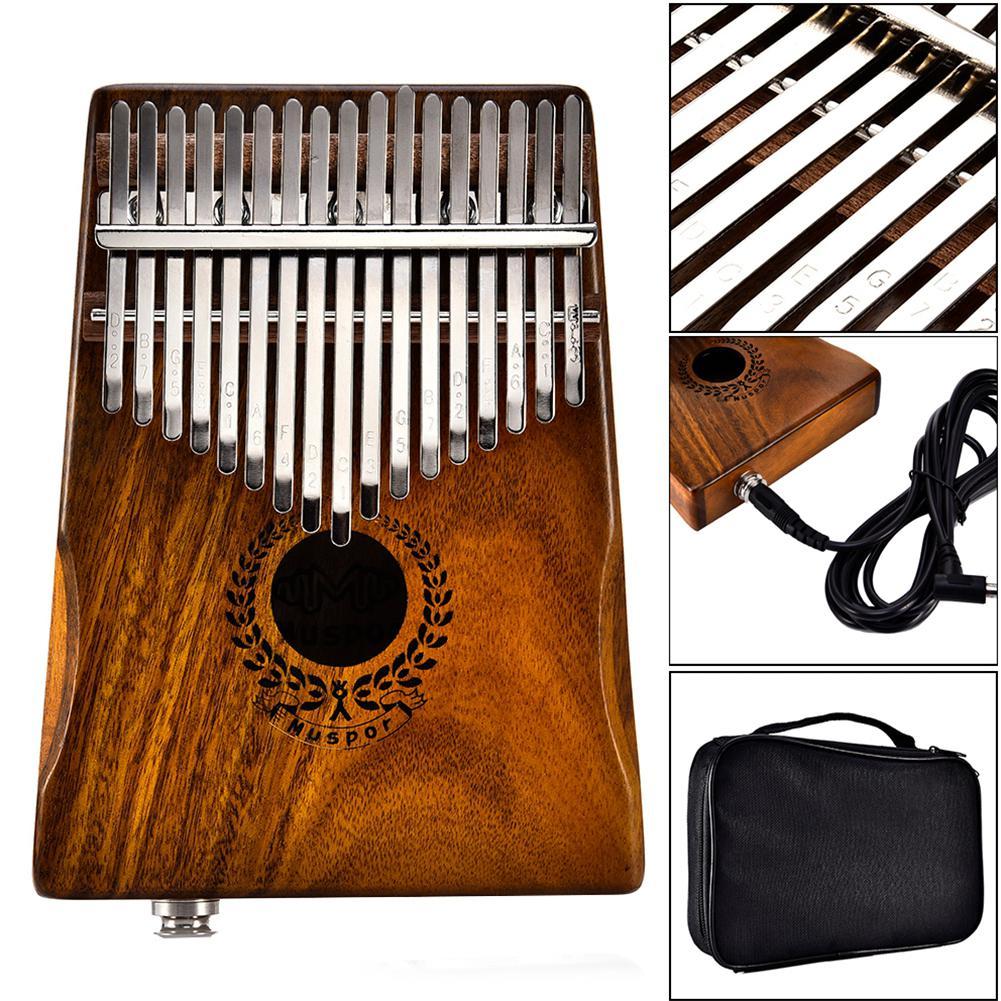 Muspor 17 Schlüssel EQ kalimba Acacia Daumen Klavier Link Lautsprecher Elektrische Pickup mit Tasche Kabel 17 schlüssel Calimba Mini Klavier kamfer