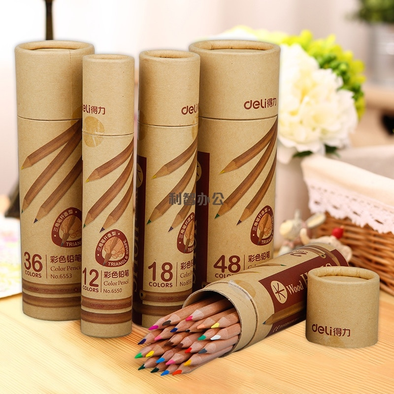 Deli 2017 Colored Pencil set Stationery for school supplies 12/18/24/36/48 Colors pencil artist Painting Drawing