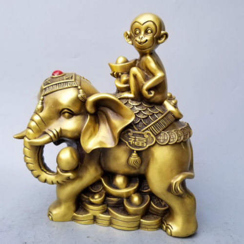 ExquisiteChina latón riqueza dinero yuanbao suerte mono Auspiciou estatua de elefante