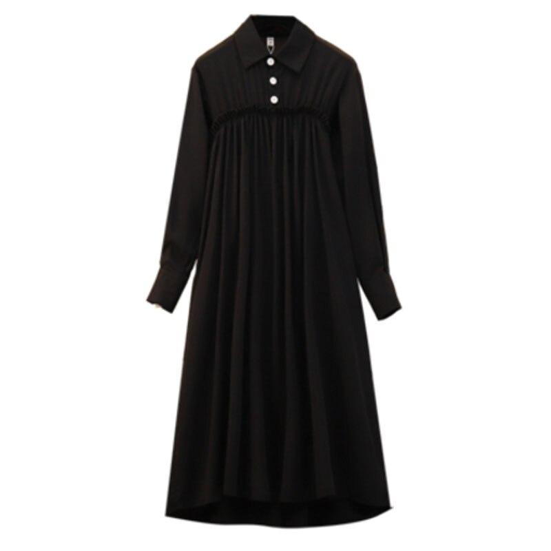 New Plus Size XL- 5XL Spring 2019 Women Dresses Loose Black Color Female Vestidos Empire Button Brand Clothes Street Dress