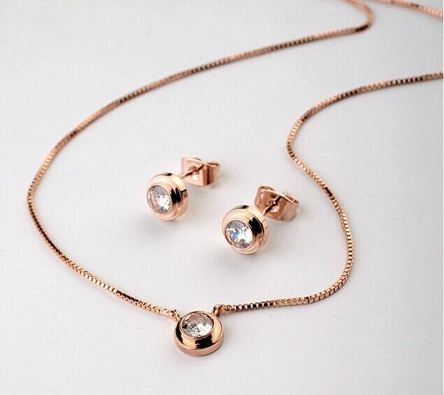 2 opciones de colores diseño clásico de alta calidad Zirconia cúbica Dita August collar + pendientes juegos de joyas para mujer fiesta de moda