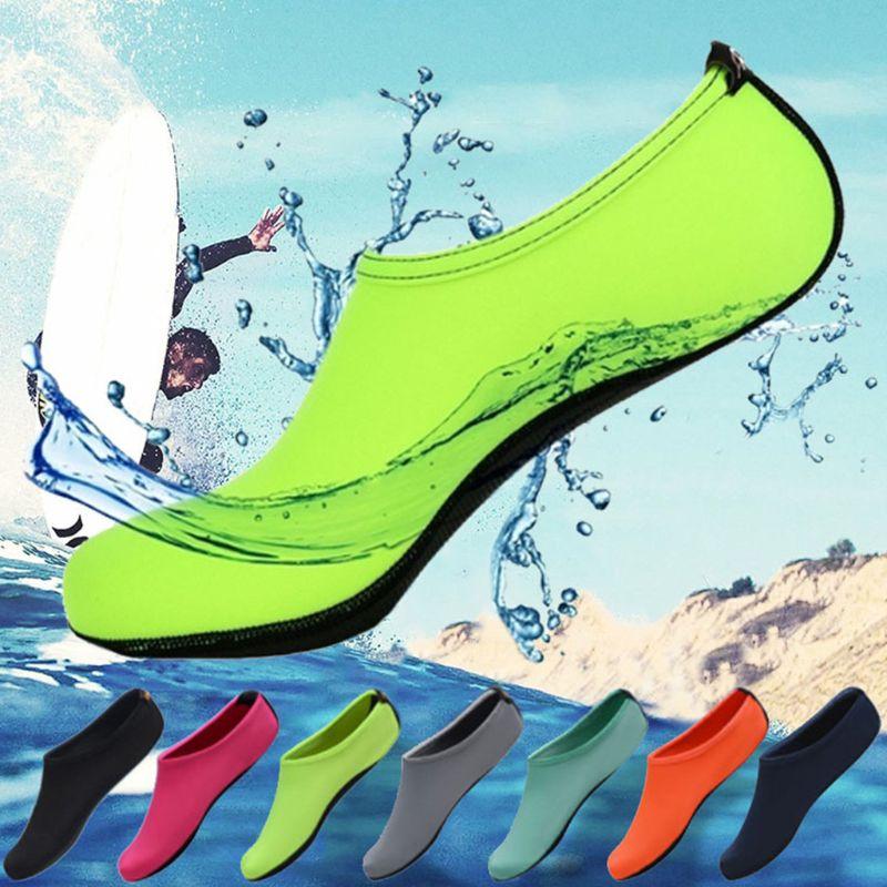 Calcetines de agua para buceo en la playa para parejas adultas, Color sólido brillante, piscina, secado rápido, descalzo, surf, calzado antideslizante