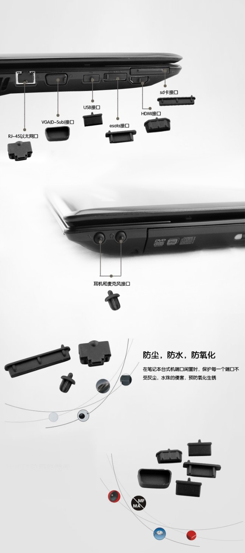 Cubierta de puerto de enchufe de silicona negra impermeable para portátil a prueba de polvo para Sader NP8657 (P650SE) NP8658-S (Clevo P650RG)