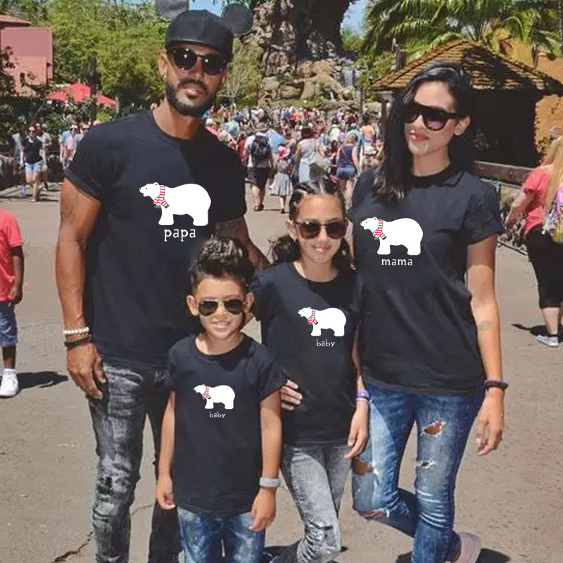 summer family matching clothes daddy mommy and me Polar bear cartoon print t shirt baby girl kids ou