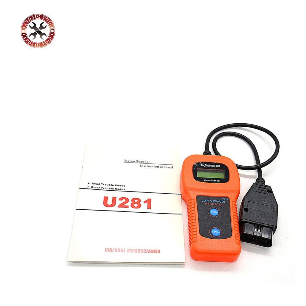OBD II 2 PUÒ U281 Auto Code Reader Scanner Memo Diagnostica Tool Memoscan Sede CAN-BUS OBD2 Diagnostica Scanner per AUDI VW Passat