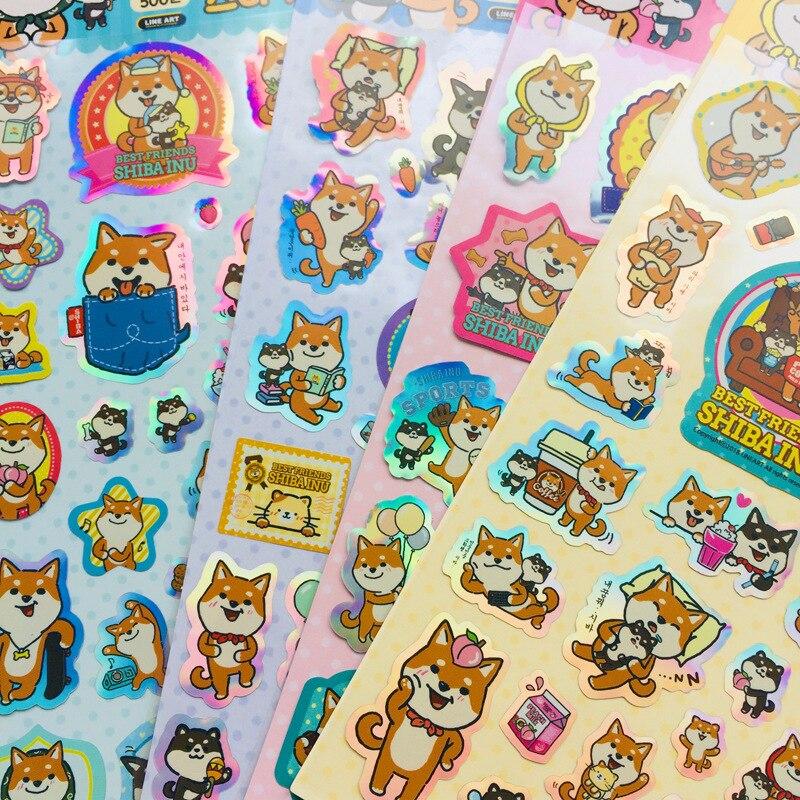 Transparent Laser Shiba Dekorative Aufkleber Scrapbooking Aufkleber Label Tagebuch Schreibwaren Album Aufkleber
