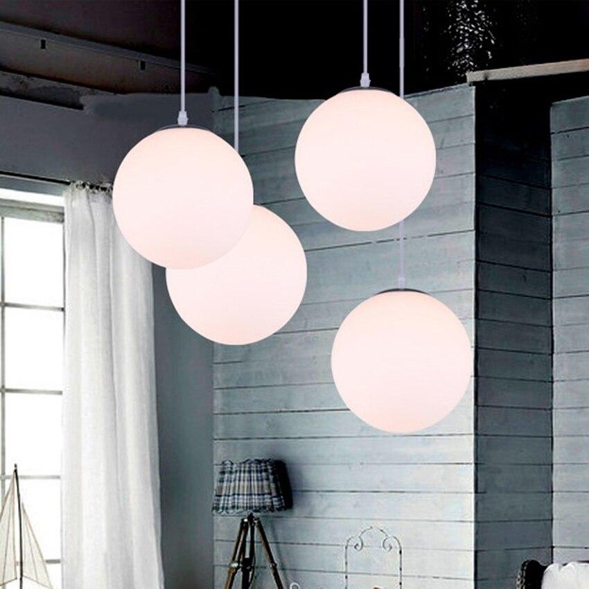 Luzes pingente de vidro branco moderno diâmetro 15-35cm leite branco bola de vidro lâmpada sombra pendurado lâmpadas para restaurante barra lighing dispositivo elétrico