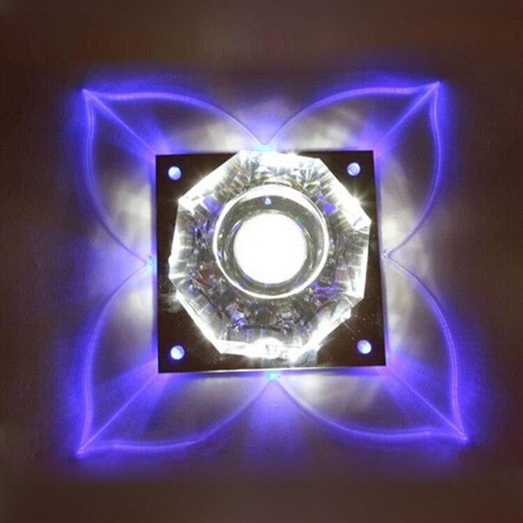 Envío gratis 3W moderna forma de trébol lámpara LED de techo de cristal lámpara de iluminación interior lámparas Led de cristal 220V