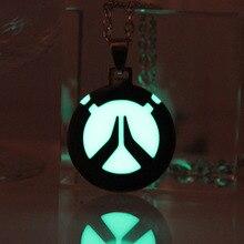 Neue jungen/männer Overwatch halskette glowing Halskette Anhänger Overwatch Shimada Genji keyChain Mode Schmuck glow in the dark