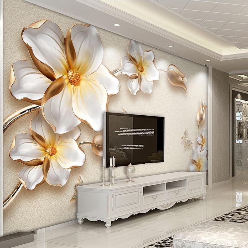 Высокое качество, глубокая текстурная рельефная 3D картина, золотые цветы, ювелирные изделия, роскошные фото обои, гостиная, отель, фон, стена...