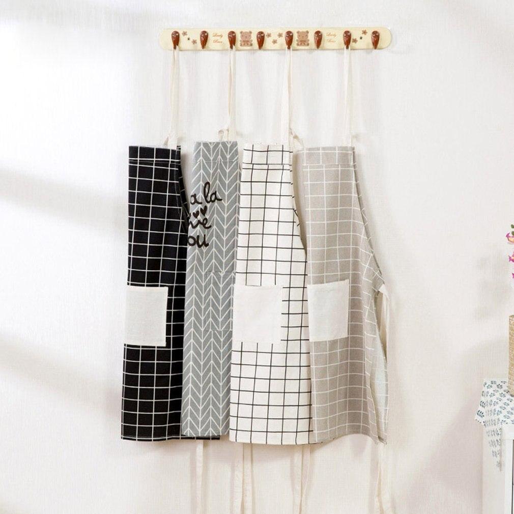 Delantal de cocina para el hogar con bolsillo de algodón suave y lino, delantales de cocina Unisex para el comedor, restaurante, cuello Halter