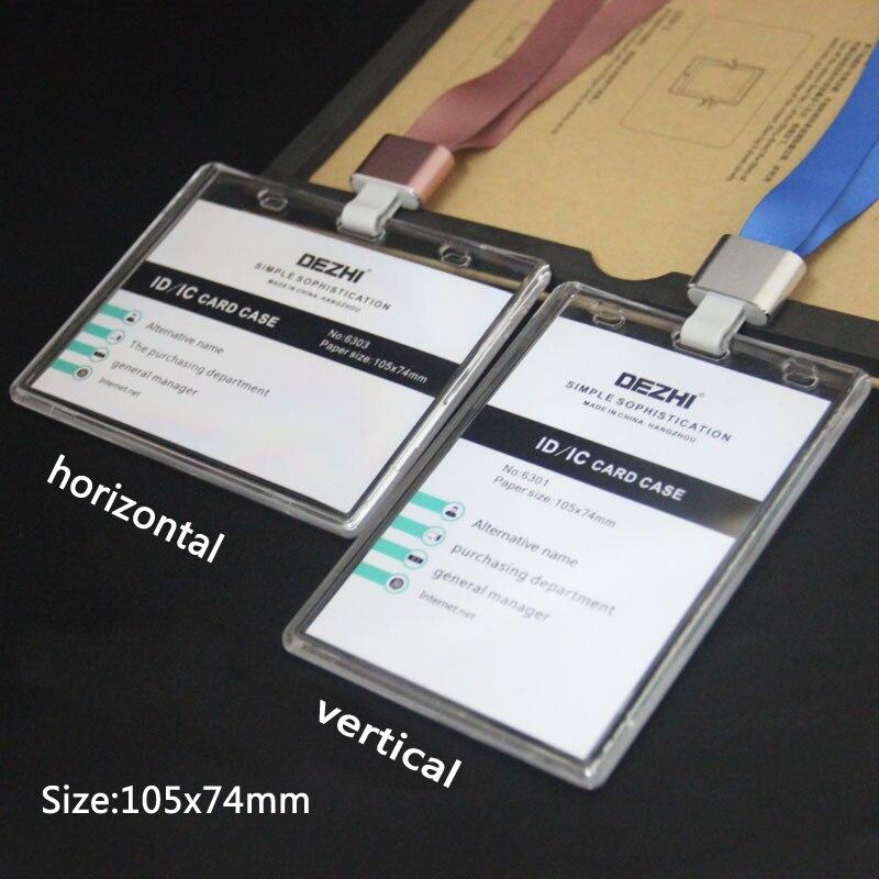 DEZHI-105x74mm Plus le porte-Badge de transparence de Style + la lanière de Polyester, porte-carte dic didentification claire en cristal a adapté le fournisseur de bureau