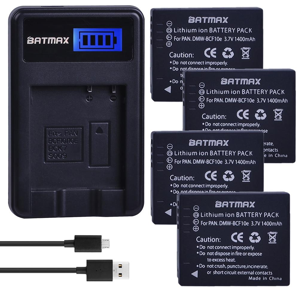 4Pcs Batteries + LCD SUB Charger for Panasonic Lumix DMW-BCF10, DMW-BCF10E, DMW-BCF10PP, CGA-S/106B, DMC-F2, DMC-F3, DMC-FH1