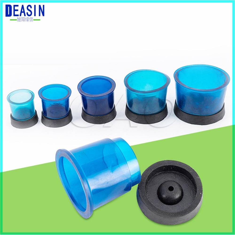 5 Juegos de formadores de anillos de fundición redondos de laboratorio Dental con Base de cera de inversión de goma de silicona anillo de Base de plástico