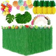 Décoration de fête tropicale hawaïenne   Ensemble de décoration avec jupe de Table, feuilles tropicales, pics de parapluies dananas en papier
