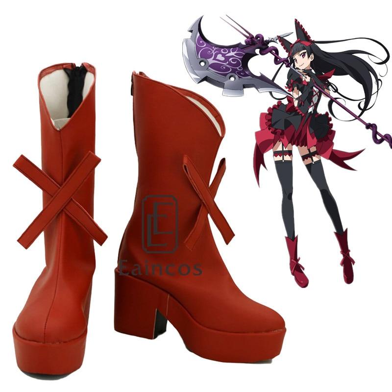 Gate Jieitai Kanochi nite Kaku Tatakaeri Enryuu-hen Rory Mercury Cosplay Halloween Party Shoes Red Fancy Boots Custom Made