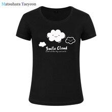 Mulheres moda vestuário Bonito Dos Desenhos Animados Sorriso Nuvens Imprimir Tee T-shirt Das Mulheres Top de Manga Curta Feminina roupas de Marca camisa de t para