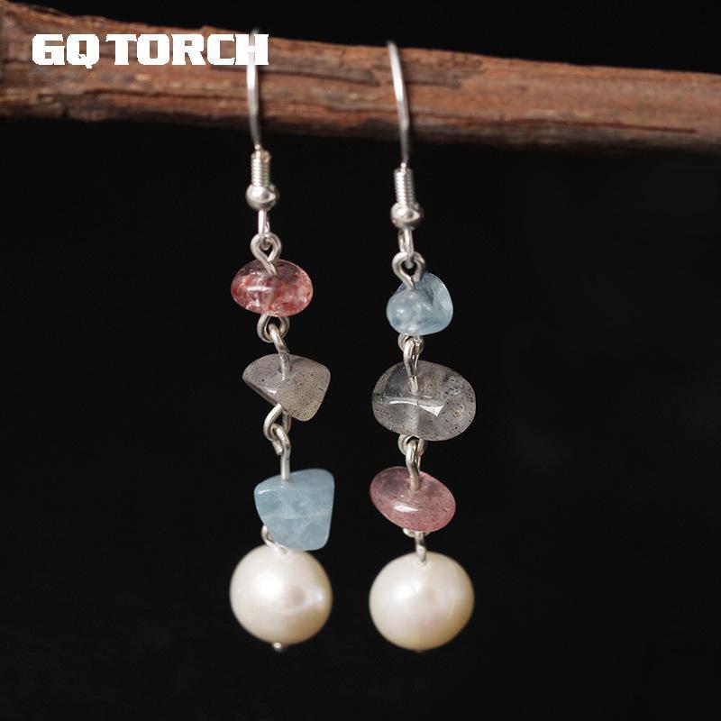 GQTORCH Korean Elegant Real 925 Sterling Silver Earrings For Women Natural Freshwater Pearl Crystal Earrings Personality 2017