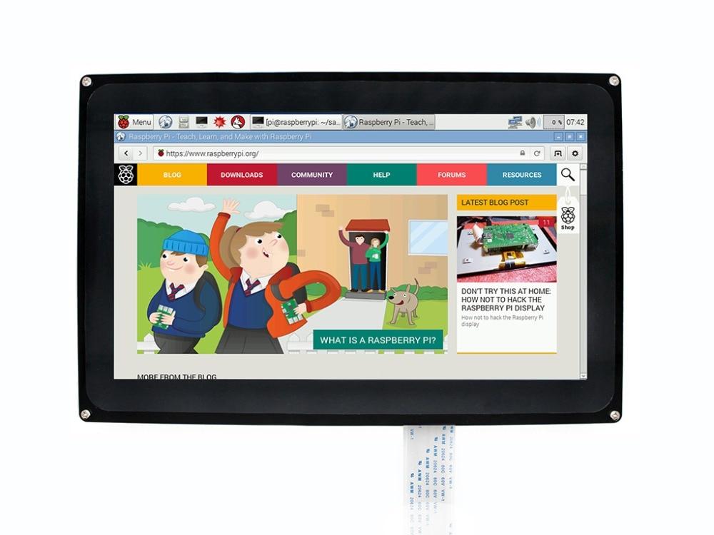 Waveshare, pantalla táctil capacitiva de 10,1 pulgadas, LCD de 1024x600 para Raspberry Pi Jetson, pantalla Nano HDMI con carcasa de acrílico para Reino Unido