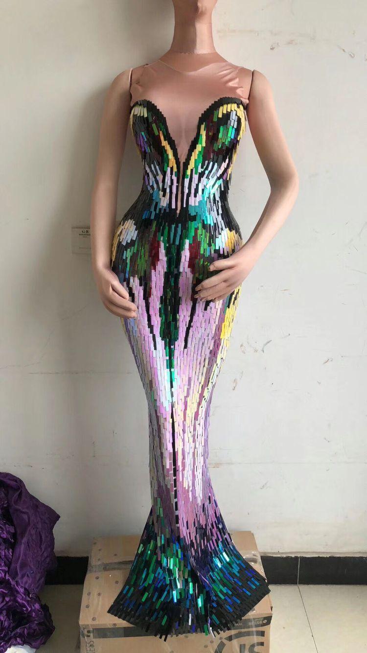فستان المشاهير بلا أكمام ، مطرزة ملونة ، فستان سهرة طويل ، فستان أنيق