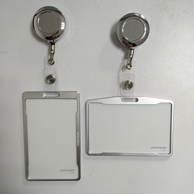 Cartera de Metal para tarjetas de crédito para hombres y mujeres, bolsa de tarjeta negra, funda para tarjetas de identificación para autobuses, insignia de identidad con carrete de insignia PY062