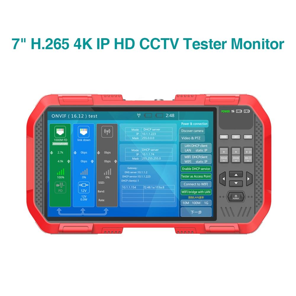 "7 ""H.265 4K IP HD CCTV Tester Monitor AHD CVI TVI CÁMARA DE 8MP WIFI POE 12V de vídeo prueba de Cable HDMI Salida de cámara de"