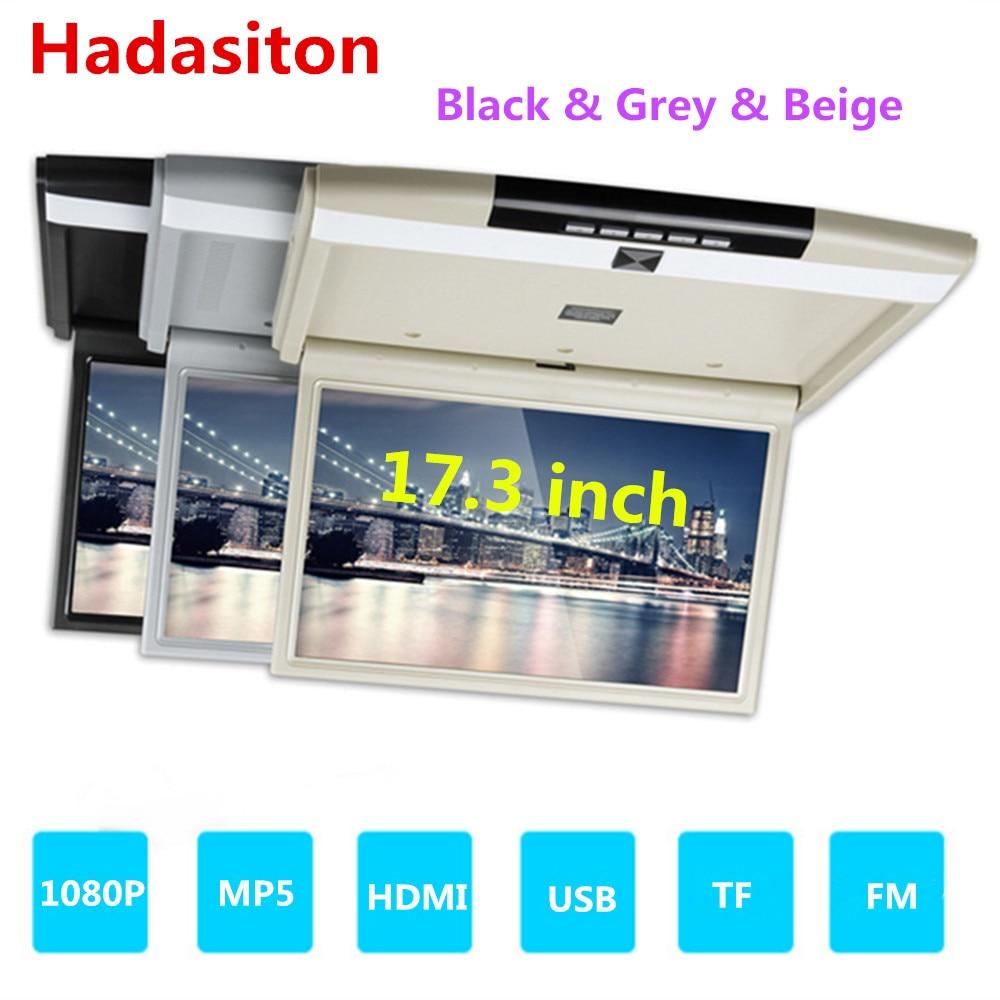 "17,3 ""TFT pantalla LED FHD1080P monitor de coche de montaje en techo Monitor abatible MP5 jugador soporte HDMI/USB/TF/FM/IR/altavoz incorporado"