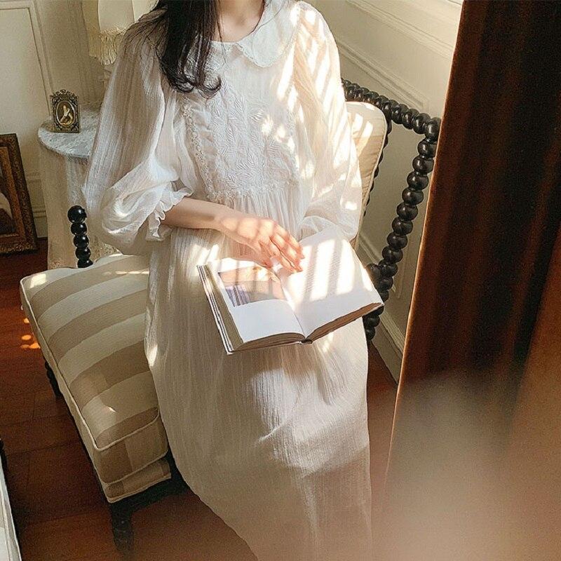 Vintage bordado blanco algodón Mujer Camisones largos dulce pijama floral elegante mujer primavera otoño vestido de noche