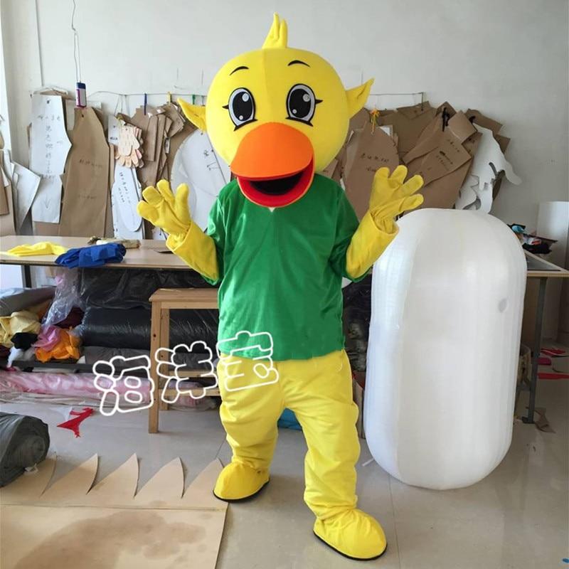 Bonito disfraz de pato de dibujos animados con camisa verde, disfraz de Mascota, disfraz de disfraz para fiesta de Halloween, atuendo publicitario