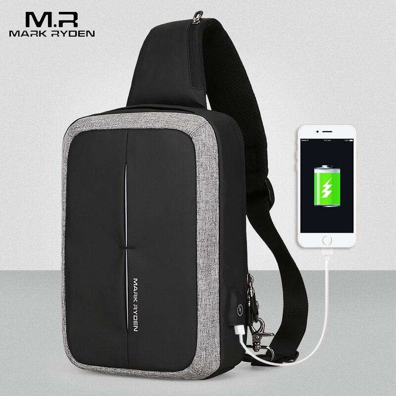 MARK RYDEN bandolera para hombre nueva Bolso de hombro de negocios bolso de pecho de alta capacidad diseño de recarga USB