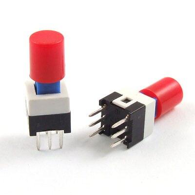 6 pines Rojo Tapa momentáneo táctil botón interruptor 7x7mm x 12mm